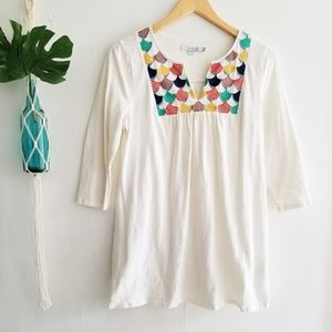 Boden Boho Off White Embroidered Tunic Top